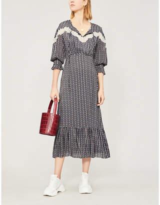 Sandro Floral print woven maxi dress