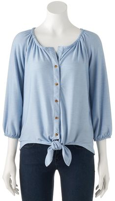 Women's French Laundry Chambray Tie-Front Top $44 thestylecure.com
