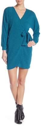 Lush Ribbed Knit Dolman Sleeve Wrap Dress