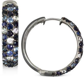 Effy Saph Splash by Multicolor Sapphire Large Hoop Earrings (4 ct. t.w.) in Sterling Silver