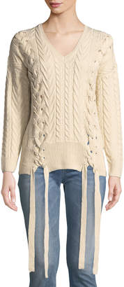 Neiman Marcus Cable Knit Lace-Up V-Neck Sweater