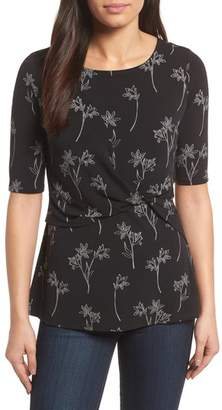 Chaus Floral Outlines Side Knot Top