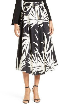 Women's Milly Jackie Palm Print Midi Skirt $395 thestylecure.com