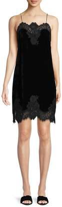 Alice + Olivia Women's Silk-Blend Lace Slip Dress