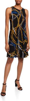 Nine West Interlock Knit Chain Printed Trapeze Dress