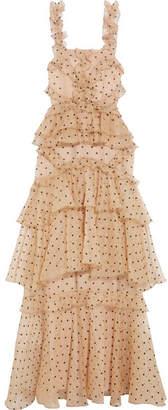 Alice McCall Yoko Ruffled Tiered Swiss-dot Silk-organza Gown - Beige