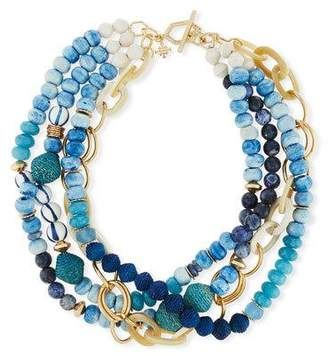 "Akola Twisted Multi-Strand Necklace, Blue, 22"""