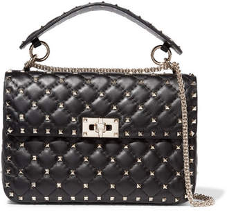 Valentino Garavani The Rockstud Spike Medium Quilted Leather Shoulder Bag - Black