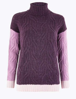Marks and Spencer Cable Knit Colour Block Roll Neck Jumper