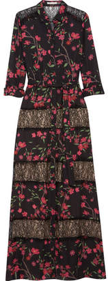 Alice + Olivia Sina Lace-paneled Floral-print Chiffon Maxi Dress - Black
