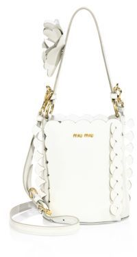 Miu Miu Miu Miu Scalloped Leather Bucket Bag