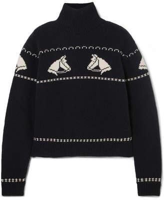 ALEXACHUNG Intarsia Wool Turtleneck Sweater - Navy
