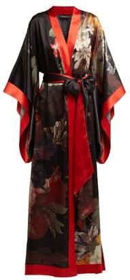 Carine Gilson Floral Print Silk Satin Kimono - Womens - Black Red Print