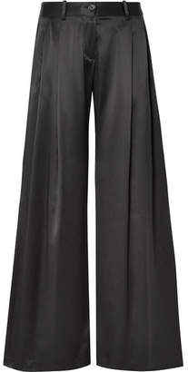 Nili Lotan Seville Silk-satin Wide-leg Pants - Black