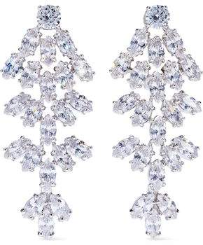 Kenneth Jay Lane Cz By Silver-Tone Crystal Clip Earrings