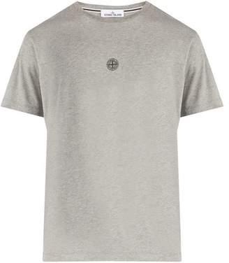 Stone Island Reflective Logo Cotton T Shirt - Mens - Grey