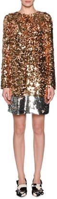 No.21 No. 21 Sequin Long-Sleeve Short Dress