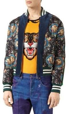 Gucci Grotesque Garden-Print Silk Velvet Bomber Jacket