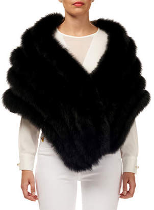 Gorski Layered Fox-Fur Shawl w/ Lace