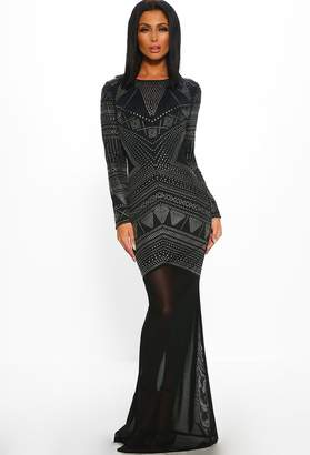 Pink Boutique Dark Romance Black Long Sleeve Backless Studded Maxi Dress