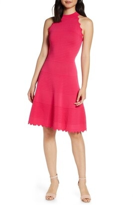 Eliza J Scalloped Fit & Flare Dress
