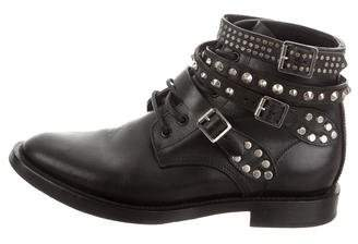 Saint Laurent Ranger Leather Studded Boots