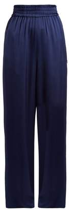 Golden Goose Sophie Wide Leg Satin Track Pants - Womens - Blue