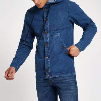 River Island Only and Sons blue denim hooded jacket