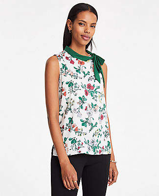 Ann Taylor Floral Tie Neck Shell