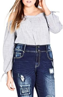 City Chic Harley Patched Skinny Jeans