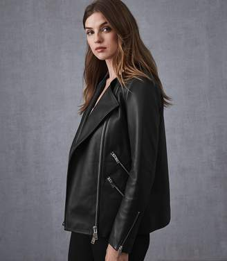 Reiss Marrisa - Leather Longline Jacket in Black