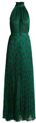 Raquel Diniz - Giovanna Floral Print Silk Gown - Womens - Green Print