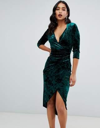 TFNC velvet midi wrap dress in emerald