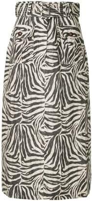 Zimmermann belted zebra print maxi skirt