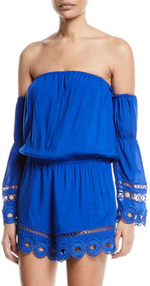 Ramy Brook Markos Off-the-Shoulder Romper with Embroidery & Fringe