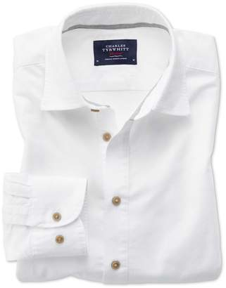 Charles Tyrwhitt Slim Fit Popover Twill Off-White Cotton Casual Shirt Single Cuff Size Large