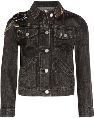 Marc Jacobs - Cropped Embellished Appliquéd Denim Jacket - Black $695 thestylecure.com