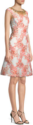 Aidan Mattox A-Line Brocade Dress w/ Jeweled Neckline