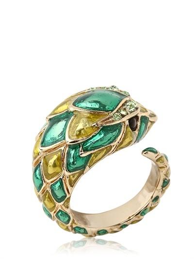 Roberto Cavalli Tiger Swarovski & Enameled Metal Ring