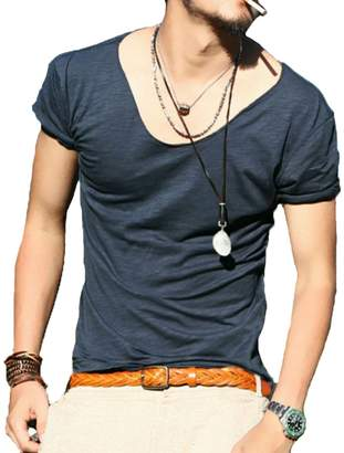 Stylish&Young Men's Casual Slim Fit Round Collar Short Sleeve Pure Color Tee T-Shirt Tops (M, )