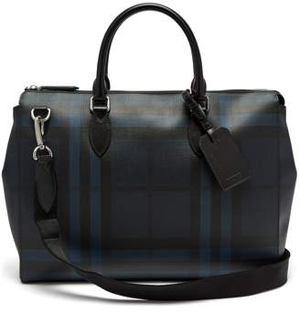 Burberry check leather tote