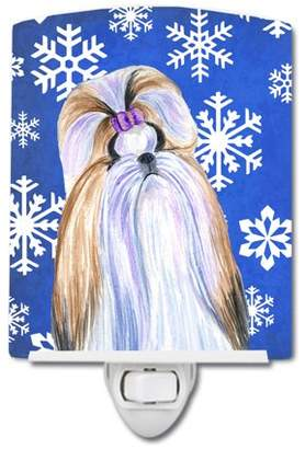 Shih Caroline's Treasures Tzu Winter Snowflakes Holiday Ceramic Night Light