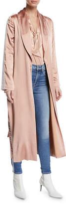 Jonathan Simkhai Crepe Satin Combo Side-Stripe Robe Jacket