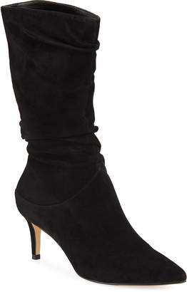 Neiman Marcus Nila Slouchy Suede Mid Calf Boots