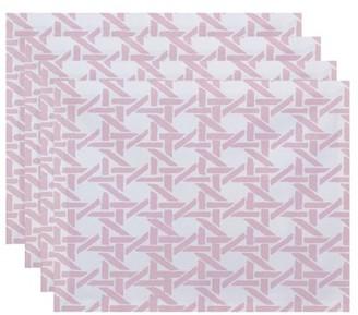 Simply Daisy, 18 x 14 Inch Rattan Geometric Geometric Print Placemat (set of 4), Pink