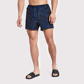 River Island Only and Sons dark blue print swim trunks