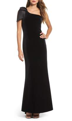Eliza J Bow One-Shoulder Velvet Gown