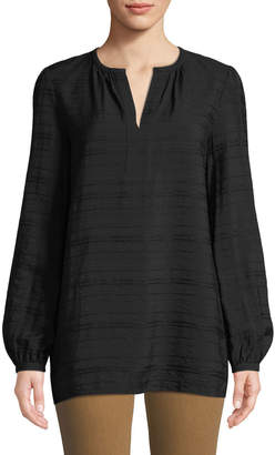Lafayette 148 New York Lolita Long-Sleeve Striped-Jacquard Gauze Blouse