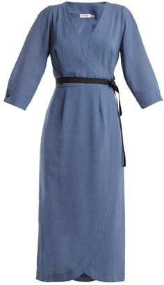 Cefinn - V Neck Voile Dress - Womens - Blue