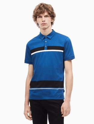 Calvin Klein regular fit liquid cotton engineered stripe polo shirt